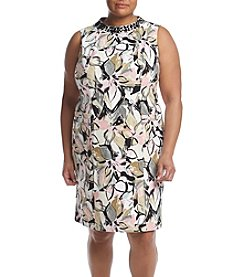 Kasper® Plus Size Embellished Neck Dress