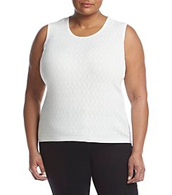 Kasper® Plus Size Shaker Stitch Shell