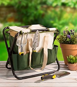 Pure Garden Folding Garden Stool with Tool Bag