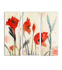 Trademark Fine Art Sheila Golden 'Poppies' 3-Panel Art Set