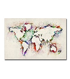 Trademark Fine Art Michael Tompsett 'World Map - Paint Splashes' Canvas Art