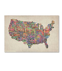 Trademark Fine Art Michael Tompsett 'US Cities Text Map VI' Canvas Art