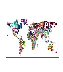 Trademark Fine Art Michael Tompsett 'Typography World Map III' Canvas Art