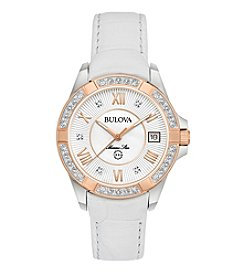 Bulova® Women's Marine Star Diamond White Leather Watch