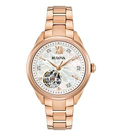 Bulova® Women's Rose Goldtone Automatic Exhibition Diamond Watch