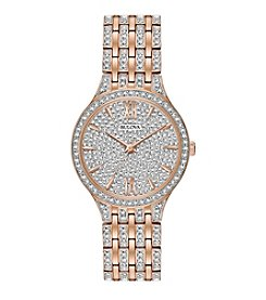Bulova® Women's Rose Goldtone Crystal Swarovski® Pave Bracelet Watch