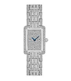 Bulova® Women's Silvertone Crystal Swarovski® Pave Bracelet Watch