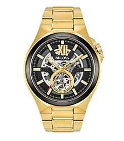 Bulova® Men's Goldtone Automatic Skeleton Bracelet Watch