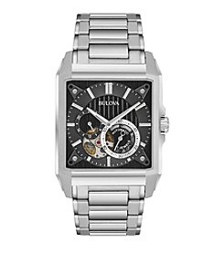 Bulova® Men's Silvertone Automatic Skeleton Bracelet Watch
