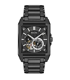 Bulova® Men's Black IP Automatic Skeleton Bracelet Watch
