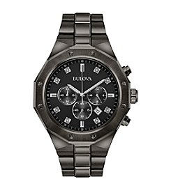 Bulova® Men's Grey IP Diamond Chrono Bracelet Watch