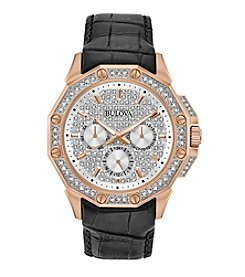 Bulova® Men's Crystal Swarovski® Pave Dial Black Croco Leather Watch