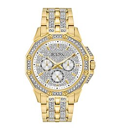 Bulova® Men's Goldtone Crystal Swarovski® Pave Dial Watch