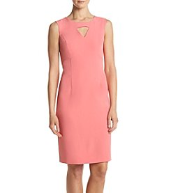 Kasper® Solid Keyhole Dress