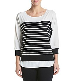 Calvin Klein Striped Woven Hem Top
