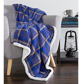 Lavish Home Plaid Blue and Yellow Fleece Sherpa Blanket Thro