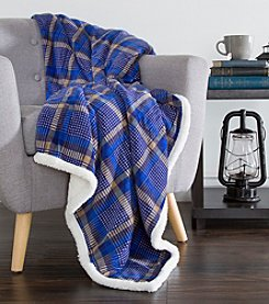 Lavish Home Blue Plaid Fleece Sherpa Blanket Throw