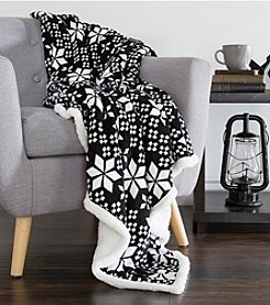 Lavish Home Black and White Snowflakes Fleece Sherpa Blanket Throw