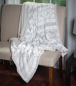Lavish Home Snowflake Fleece Sherpa Blanket Throw