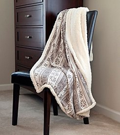 Lavish Home Grey Snowflakes Fleece Sherpa Blanket Throw