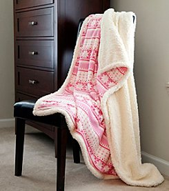 Lavish Home Pink Snowflakes Fleece Sherpa Blanket Throw