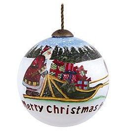 Ne'Qwa Art® Merry Christmas From Alaska by Susan Winget Petite Round-Shaped Glass Ornament