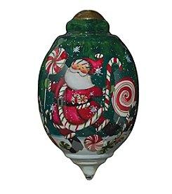Ne'Qwa Art® Santa's Peppermint Fun by Susan Winget Petite Trillion-Shaped Glass Ornament