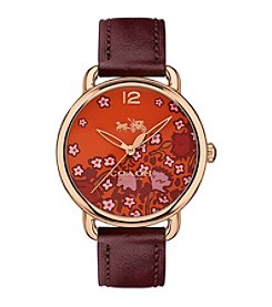 COACH DELANCEY ROSE GOLDTONE FLORAL PRINT DIAL LEATHER STRAP WATCH