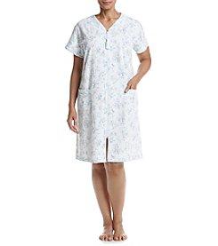 Miss Elaine® Plus Size Floral Zip Robe