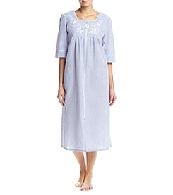 Miss Elaine® Long Stripe Zip Robe