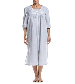 Miss Elaine® Plus Size Long Stripe Zip Robe