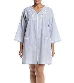 Miss Elaine® Plus Size Striped Zip Robe