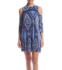 Be Bop Bordered Cold-Shoulder Dress