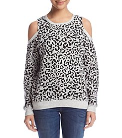 no comment™ Cold-Shoulder Leopard Pullover