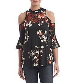 Eyeshadow® Juniors' Floral Embroidered Cold-Shoulder Top