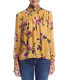 Living Doll® Floral Smock Neck Blouse