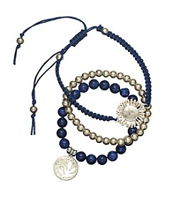 Relativity® Three Piece Bead And Charm Bracelet Set