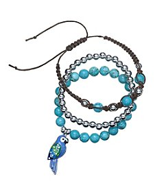 Relativity® Three Piece Bead And Parrot Bracelet Set