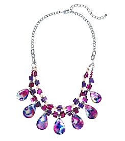 Studio Works® Two Row Bead And Shell Frontal Drop Necklace