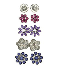 Studio Works® Silvertone Floral Five Pair Stud Earring Set