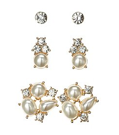 Studio Works® Goldtone And Simulated Pearl Earring Trio