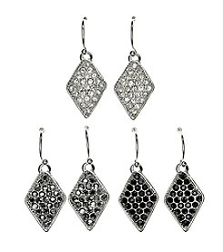 Studio Works® Silvertone Kite Drop Earring Trio