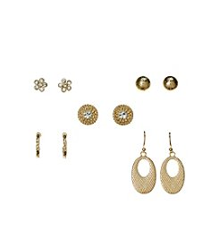 Studio Works® Goldtone And Simulated Crystal Five Pair Earring Set