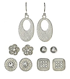 Studio Works® Silvertone And Simulated Crystal Five Piece Earring Set