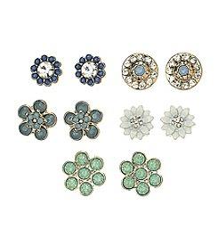 Studio Works® Goldtone Five Pair FloralEarring Set