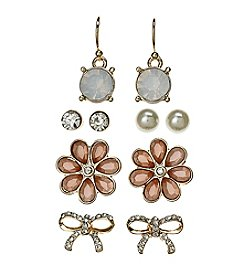Studio Works® Simulated Crystal And Simulated Pearl Accented Five Pair Earring Set