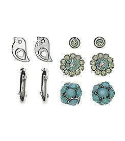 Studio Works® Five Pair Silvertone And SImulated Crystal Earring Set
