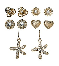 Studio Works® Goldtone Simulated Crystal And Simulated Pearl Accented Earring Set