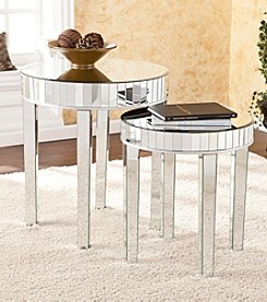 Southern Enterprises 2-Piece Round Mirrored Nesting Table Set