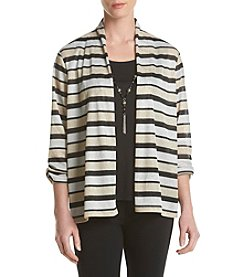 Alfred Dunner® Glitter Stripe Layered Look Top